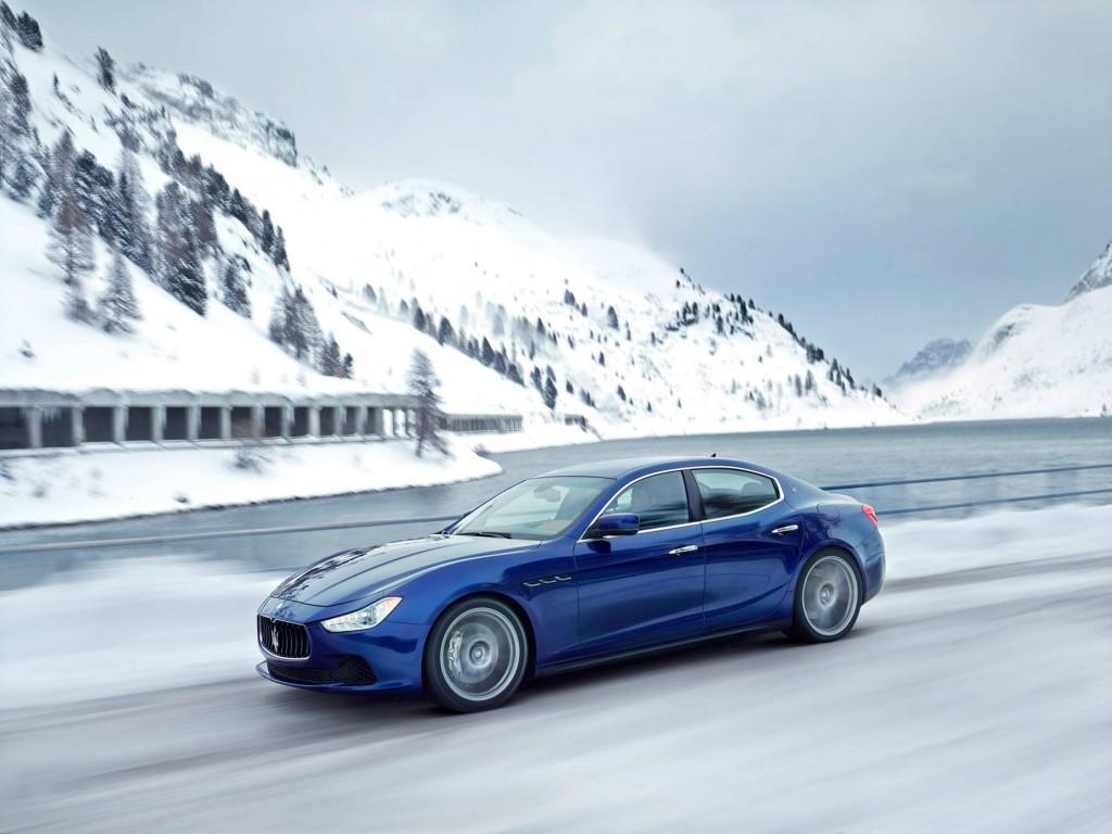 Maserati ghibli frozen lake